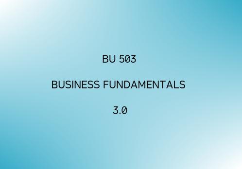 BU-503 Business Fundamentals 3.0