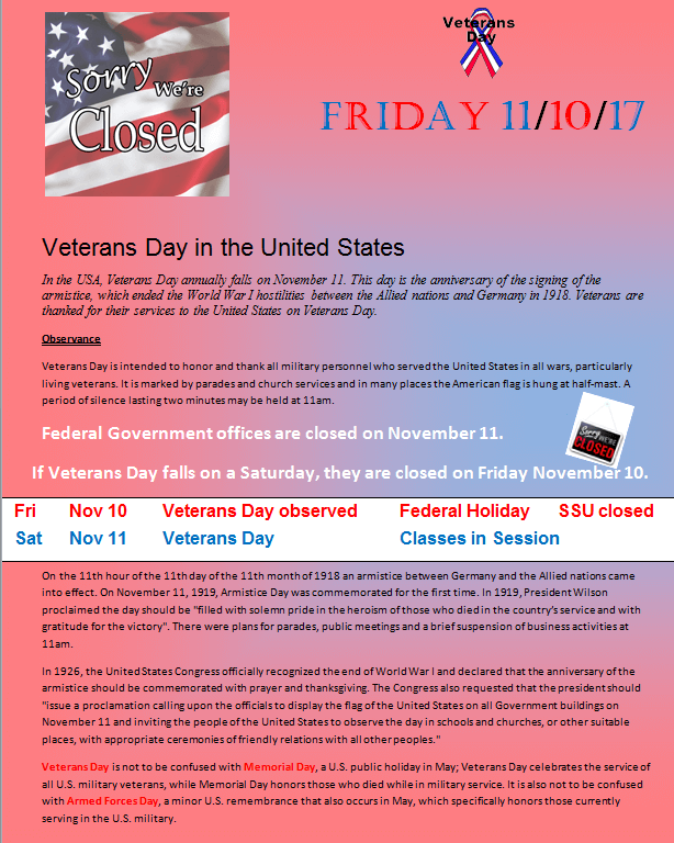 Veterans Day Holiday on 11/1/2017