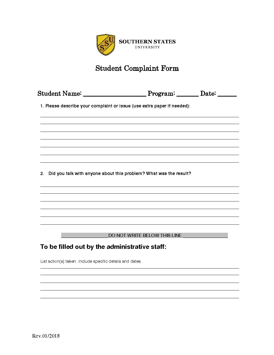 Student Complaint Form | Southern States University   Study In California  (San Diego, Newport Beach) And Nevada (Las Vegas)