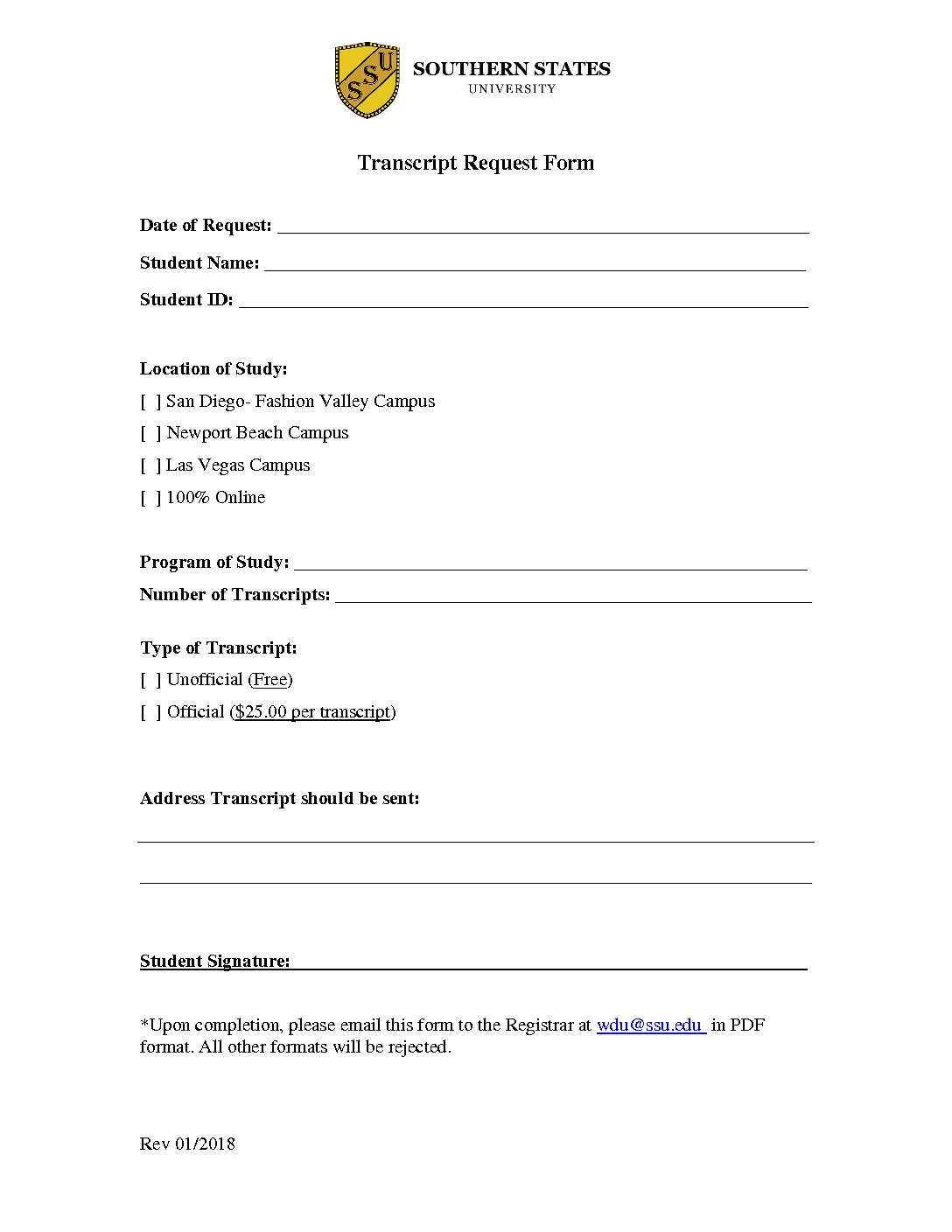 Exceptional Transcript Request Form
